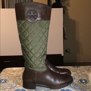 Tory Burch Army Green Quilted Nylon And Leather